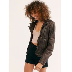Free People Fitted And Rugged Leather Jacket